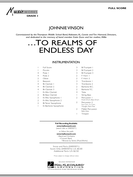 ...To Realms Of Endless Day (COMPLETE) sheet music for concert band by Johnnie Vinson. Score Image Preview.