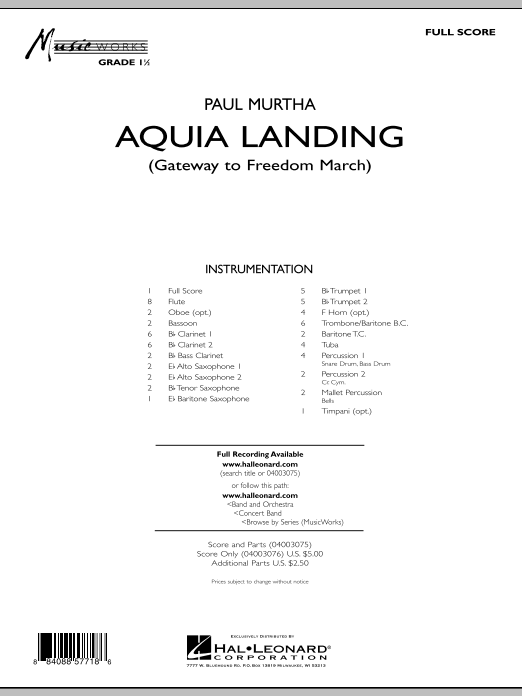 Aquia Landing (Gateway To Freedom March) (COMPLETE) sheet music for concert band by Paul Murtha. Score Image Preview.