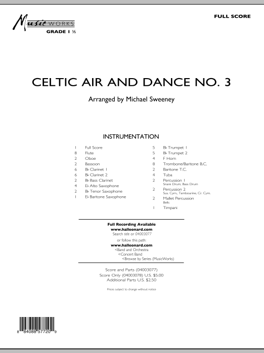 Celtic Air and Dance No. 3 (COMPLETE) sheet music for concert band by Michael Sweeney. Score Image Preview.