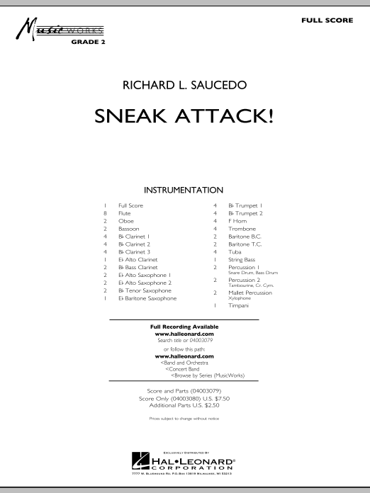Sneak Attack! (COMPLETE) sheet music for concert band by Richard L. Saucedo. Score Image Preview.