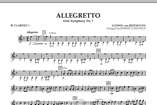 Allegretto (from Symphony No. 7) - Bb Clarinet 1 (Concert Band)