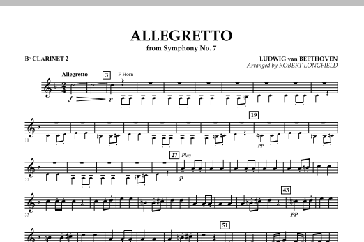 Allegretto (from Symphony No. 7) - Bb Clarinet 2 (Concert Band)