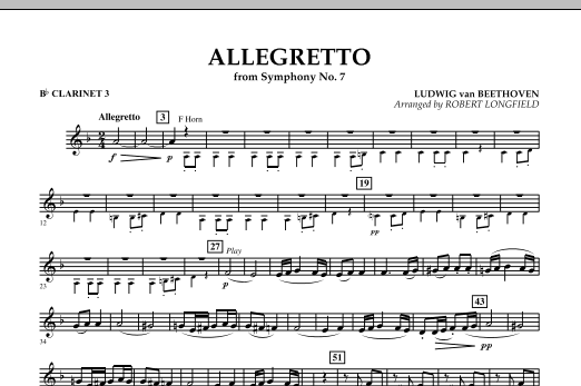 Allegretto (from Symphony No. 7) - Bb Clarinet 3 (Concert Band)