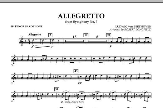 Allegretto (from Symphony No. 7) - Bb Tenor Saxophone (Concert Band)