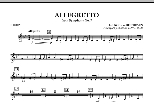 Allegretto (from Symphony No. 7) - F Horn (Concert Band)