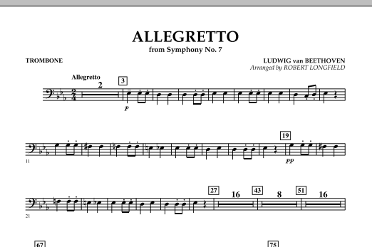 Allegretto (from Symphony No. 7) - Trombone (Concert Band)