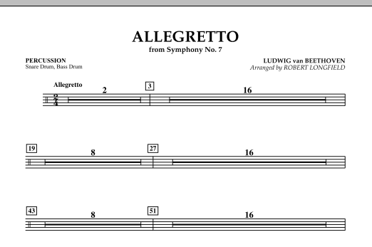 Allegretto (from Symphony No. 7) - Percussion (Concert Band)