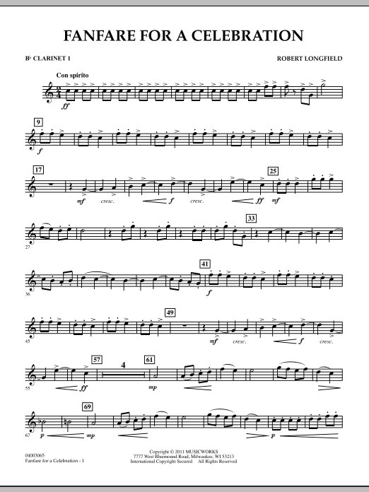 Fanfare For A Celebration - Bb Clarinet 1 (Concert Band)