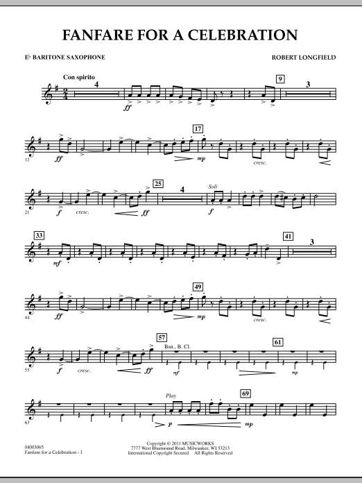 Fanfare For A Celebration - Eb Baritone Saxophone (Concert Band)
