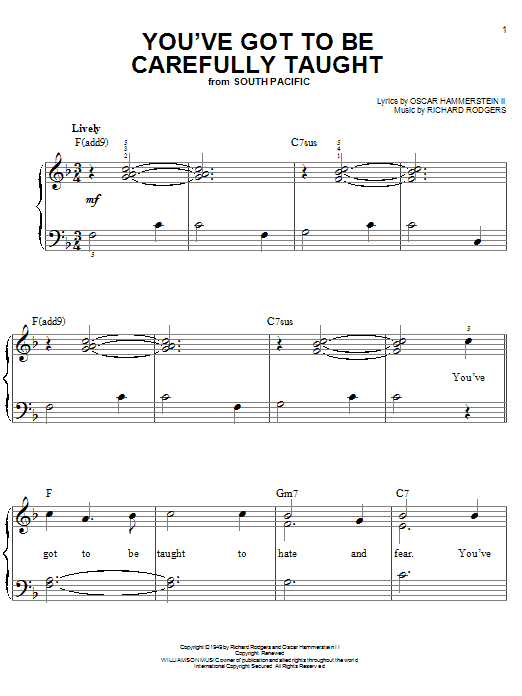 Partition piano You've Got To Be Carefully Taught de Rodgers & Hammerstein - Piano Facile
