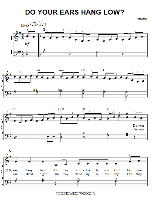 Do Your Ears Hang Low? (Easy Piano)