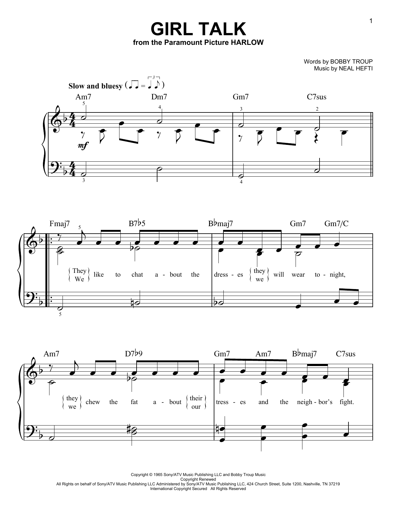 Girl Talk Sheet Music