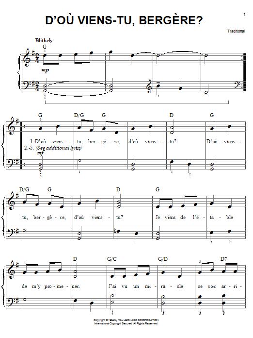 D'ou Viens-Tu, Beregere? Sheet Music