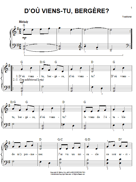 Partition piano D'ou Viens-Tu, Beregere? de Traditional - Piano Facile