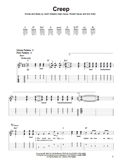Tablature guitare Creep de Stone Temple Pilots - Tablature guitare facile