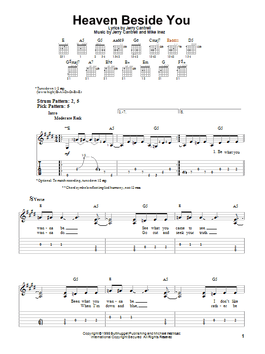 Tablature guitare Heaven Beside You de Alice In Chains - Tablature guitare facile