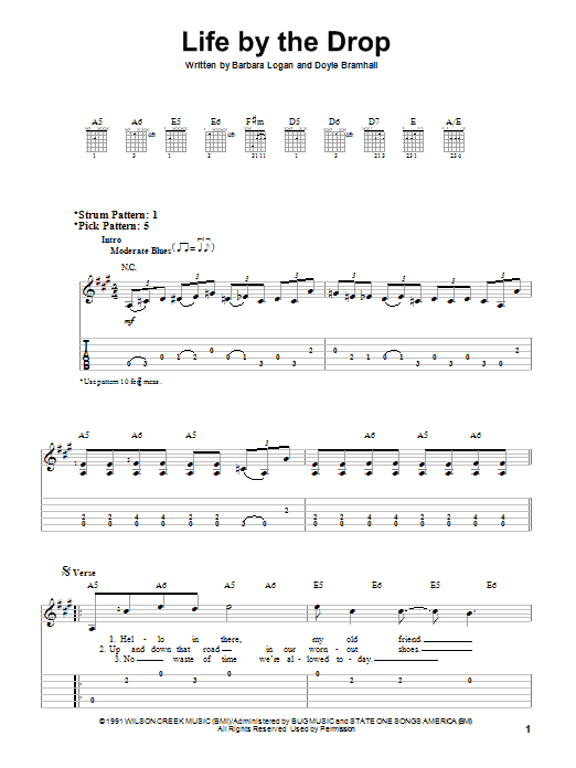Tablature guitare Life By The Drop de Stevie Ray Vaughan - Tablature guitare facile