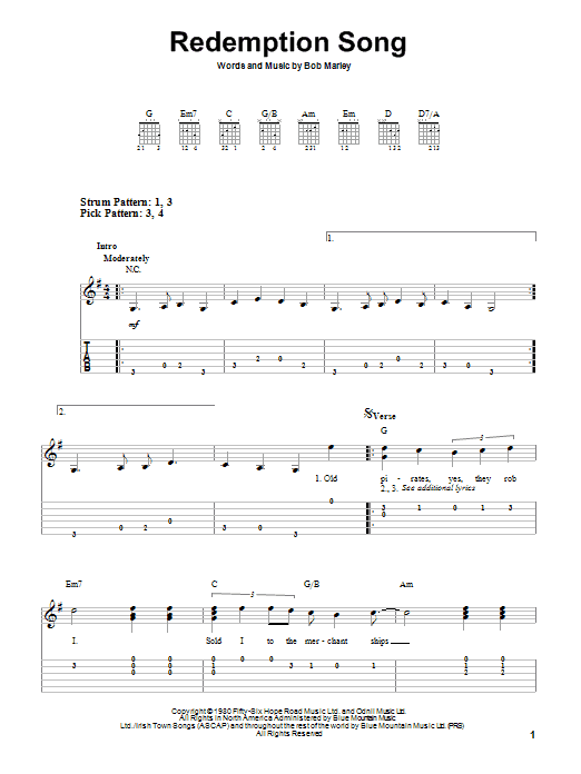Redemption Song sheet music by Bob Marley (Easy Guitar Tab – 83381)