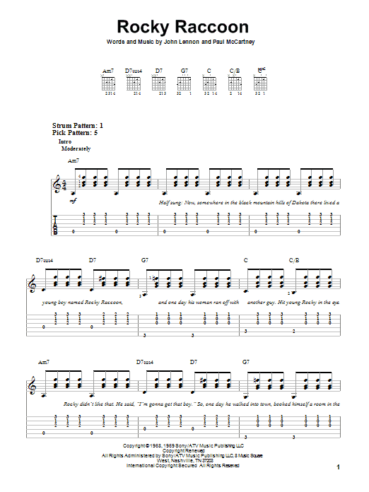 Rocky Raccoon By The Beatles Easy Guitar Tab Guitar Instructor