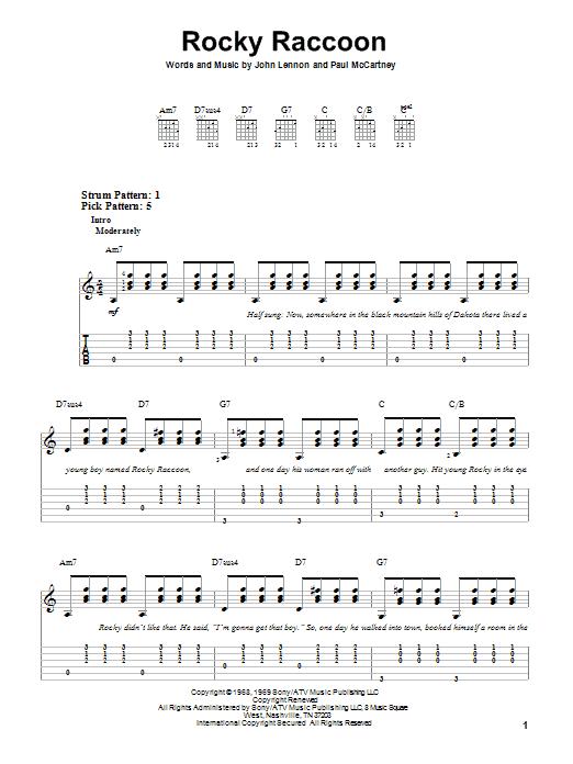 Tablature guitare Rocky Raccoon de The Beatles - Tablature guitare facile