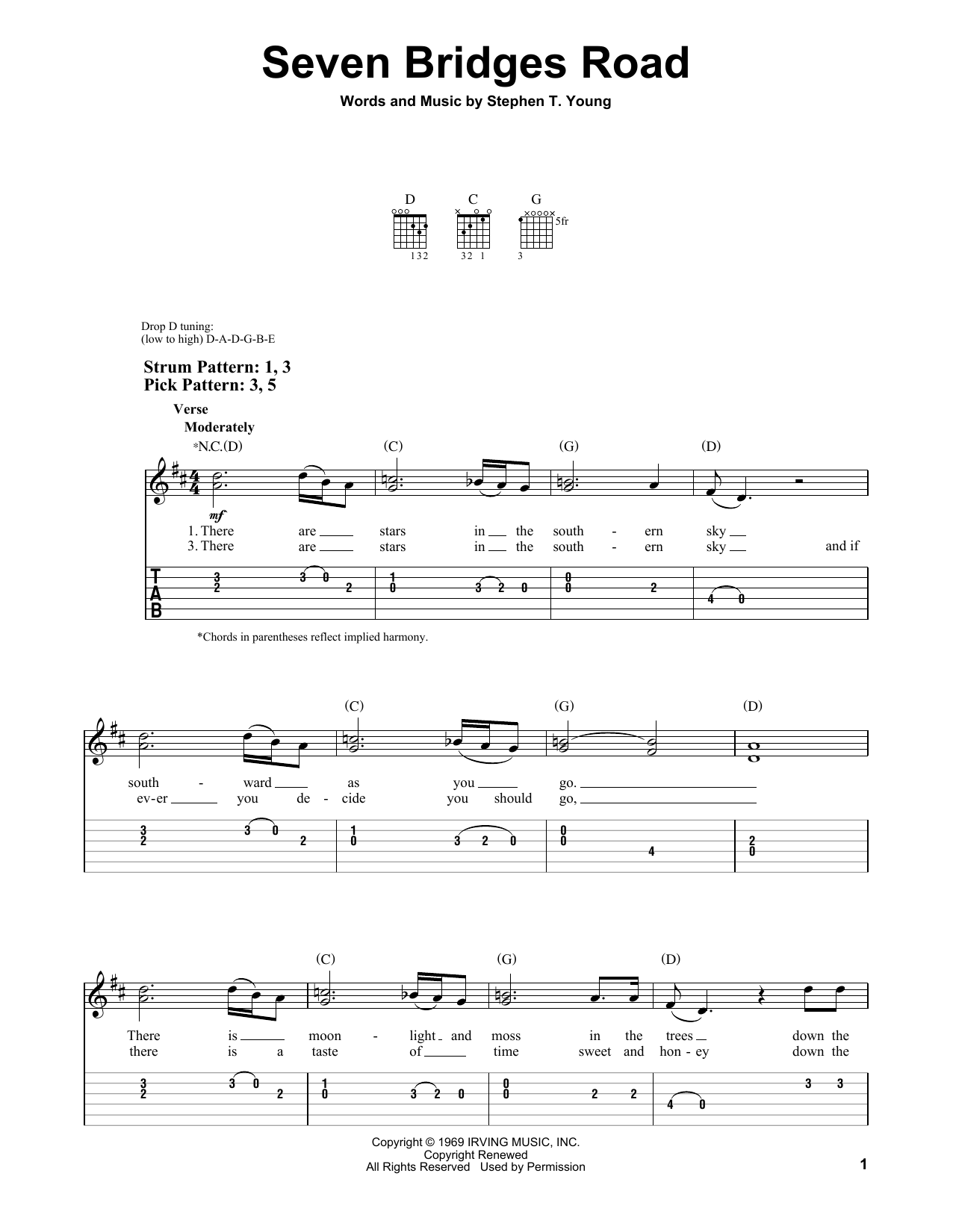 Tablature guitare Seven Bridges Road de The Eagles - Tablature guitare facile