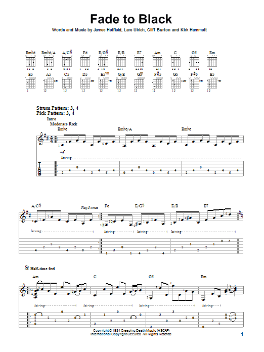 Fade To Black sheet music by Metallica (Easy Guitar Tab – 83376)