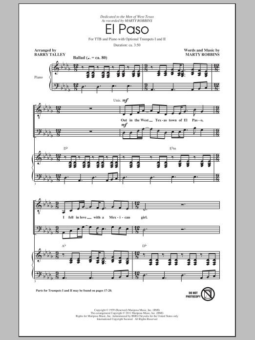 Partition chorale El Paso de Marty Robbins - TTBB