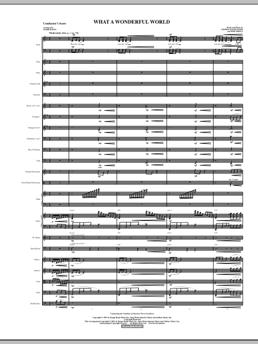 What A Wonderful World (complete set of parts) sheet music for orchestra/band (Orchestra) by Mark Hayes, Bob Thiele, George David Weiss and Louis Armstrong. Score Image Preview.