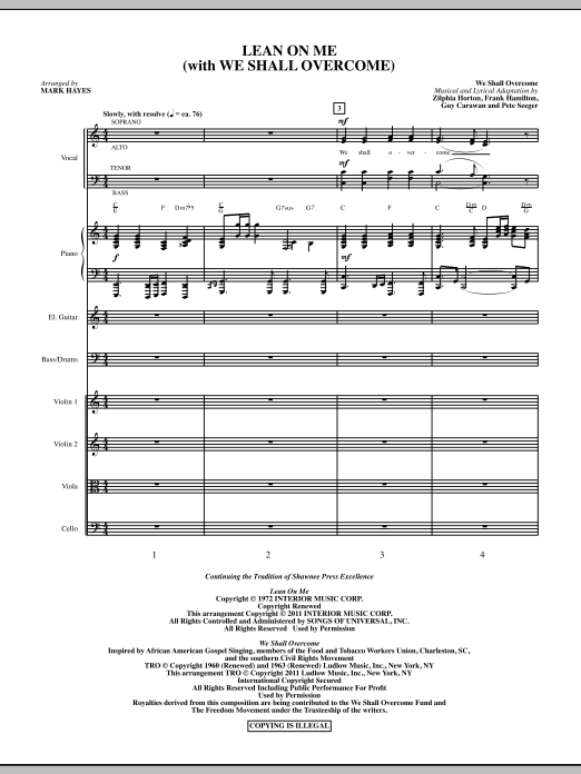 Lean On Me (With We Shall Overcome) (complete set of parts) sheet music for orchestra/band (Orchestra) by Mark Hayes, Bill Withers, Frank Hamilton, Guy Carawan, Pete Seeger and Zilphia Horton. Score Image Preview.