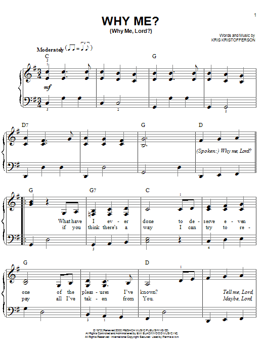 Why Me? (Why Me, Lord?) Sheet Music