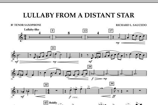 Lullaby From A Distant Star - Bb Tenor Saxophone (Concert Band)