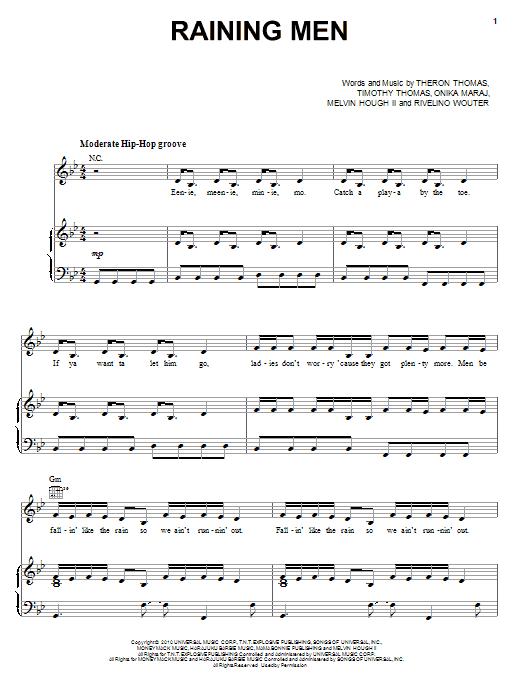 Raining Men (Piano, Vocal & Guitar (Right-Hand Melody))