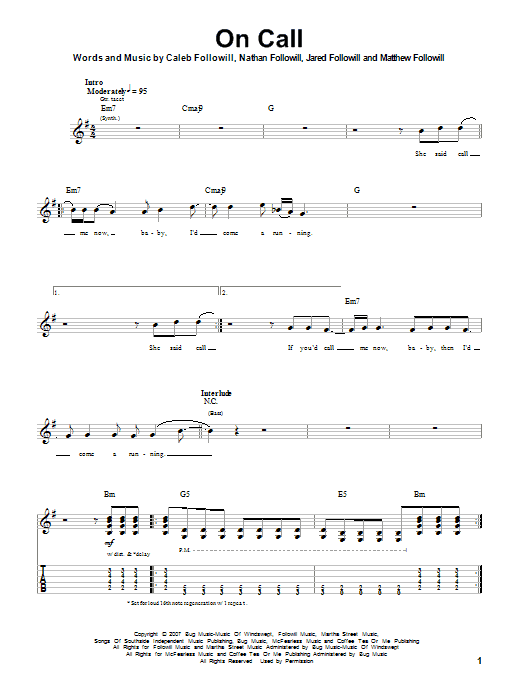 Tablature guitare On Call de Kings Of Leon - Autre