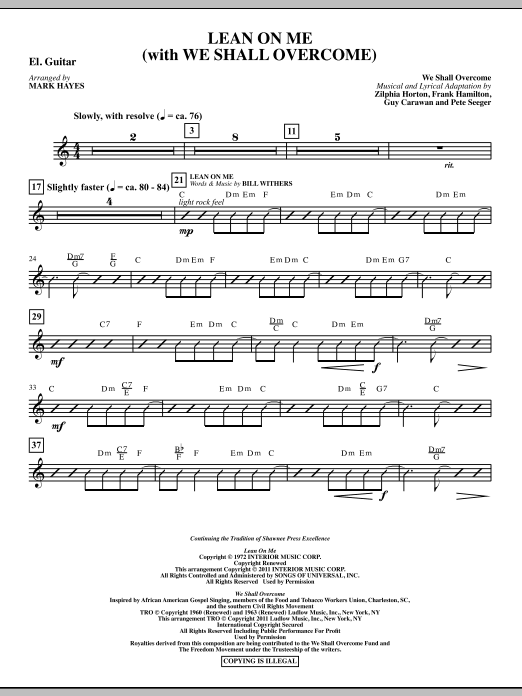Lean On Me (With We Shall Overcome) - Electric Guitar Sheet Music