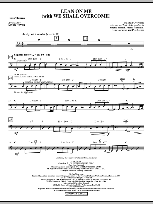 Lean On Me (With We Shall Overcome) - Bass Drum Sheet Music