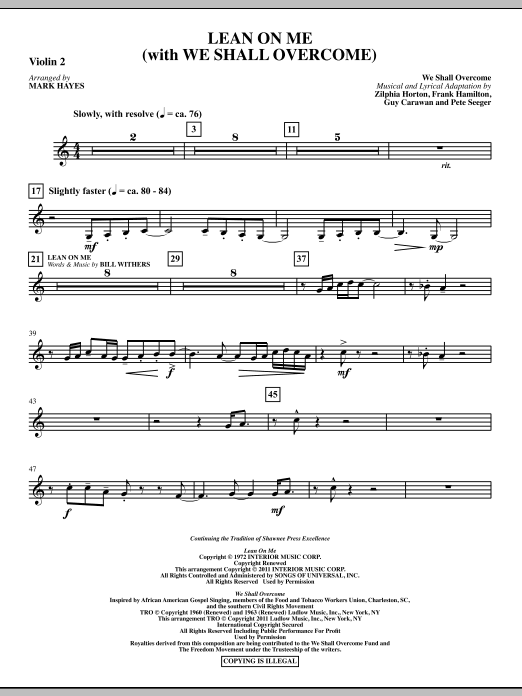 Lean On Me (With We Shall Overcome) - Violin 2 Sheet Music