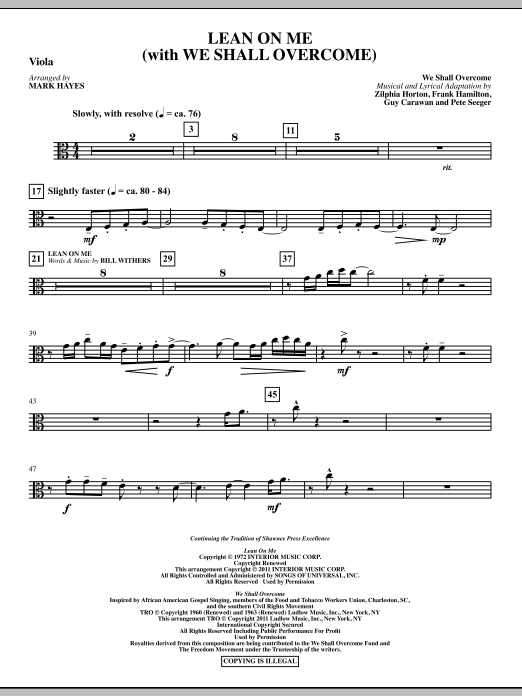 Lean On Me (With We Shall Overcome) - Viola Sheet Music