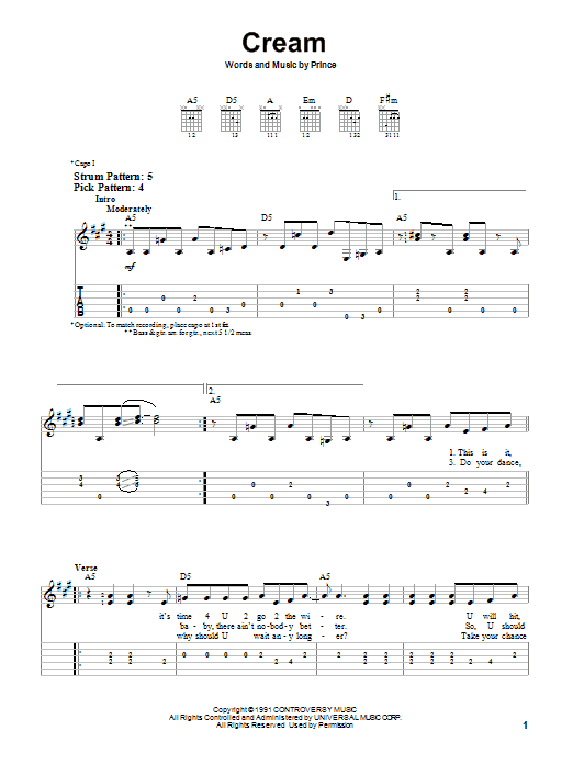 Cream by Prince - Easy Guitar Tab - Guitar Instructor