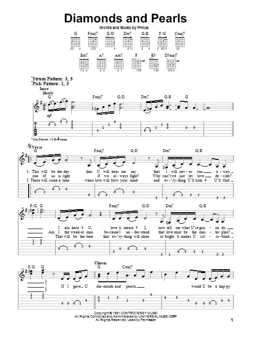 Diamonds And Pearls (Easy Guitar Tab)
