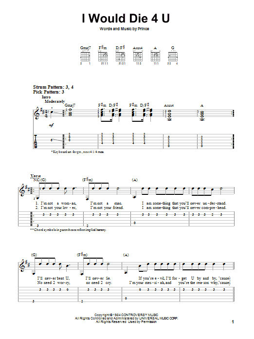 Tablature guitare I Would Die 4 U de Prince - Tablature guitare facile