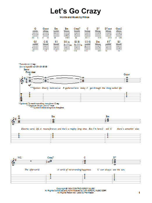 Let's Go Crazy (Easy Guitar Tab)