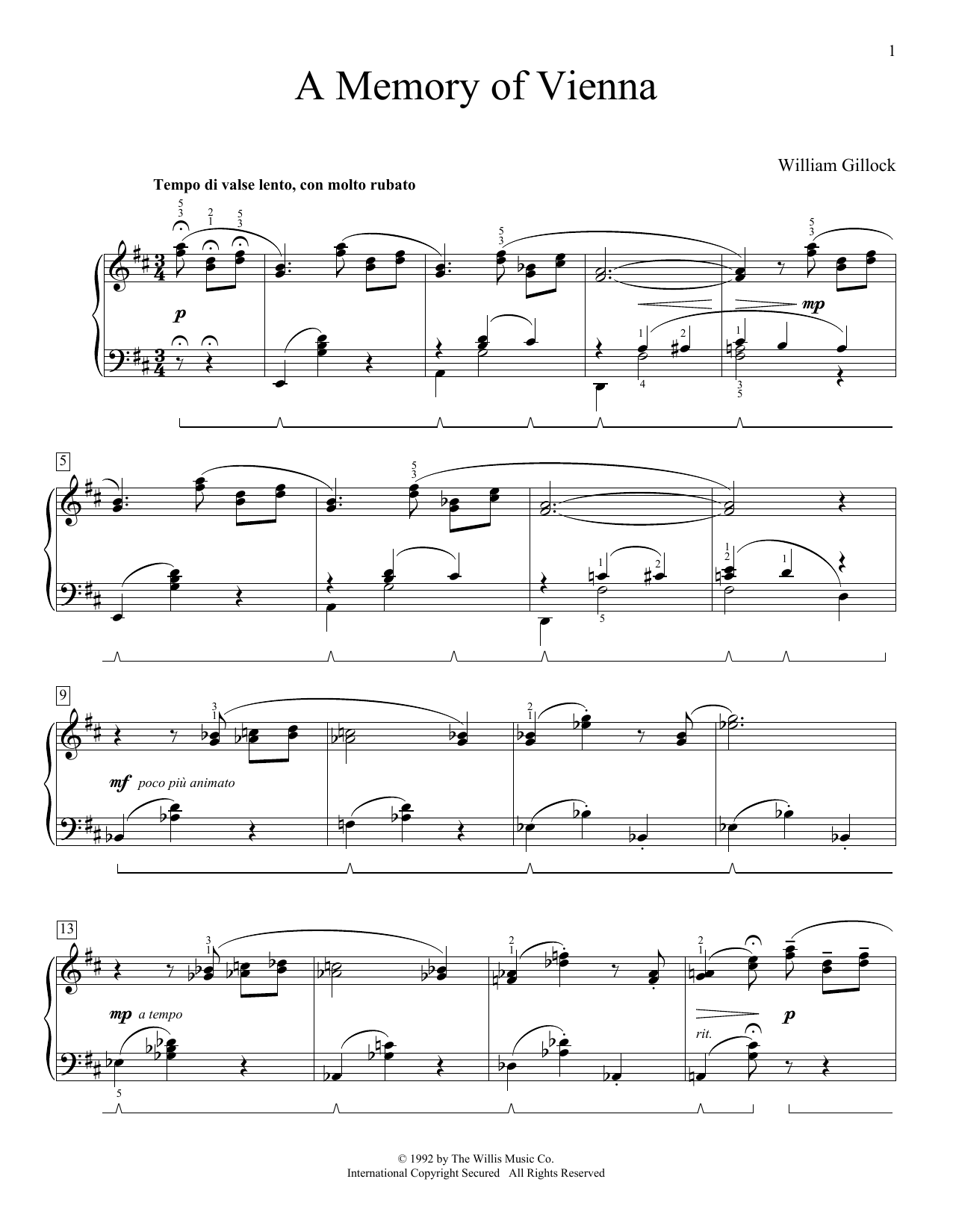 A Memory Of Vienna (Educational Piano)