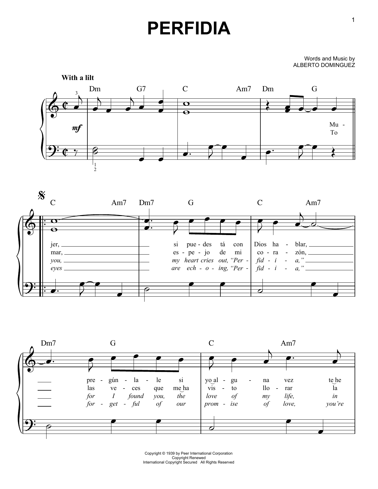 Perfidia Sheet Music