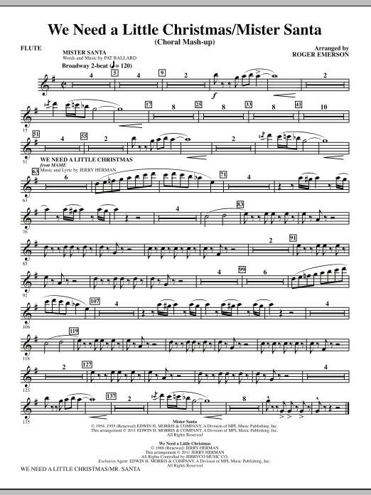 we need a little christmas mister santa flute sheet music