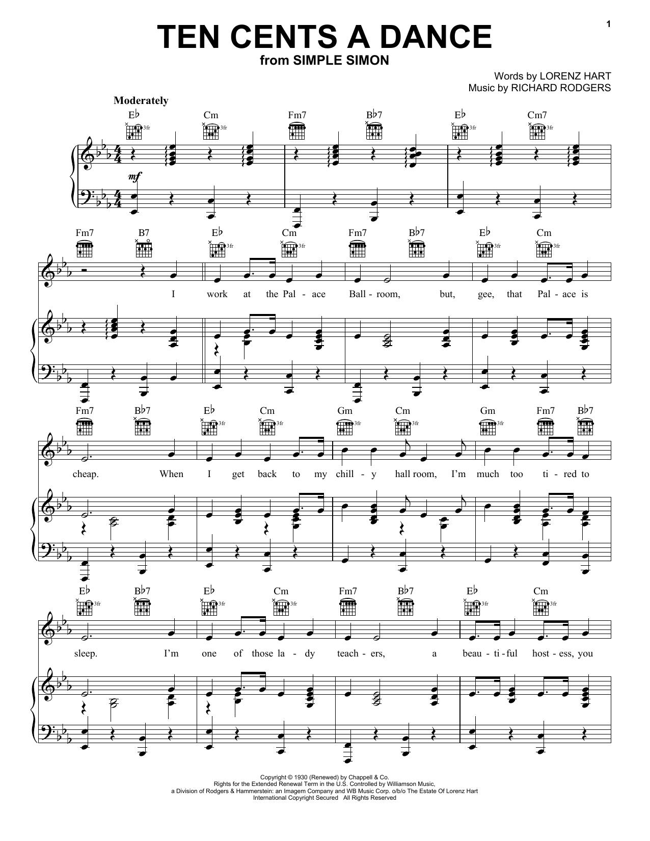 Ten Cents A Dance Sheet Music