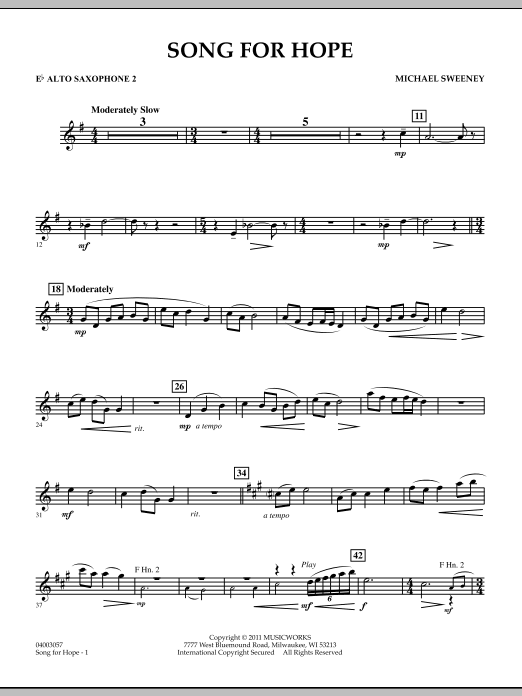 Song For Hope - Eb Alto Saxophone 2 (Concert Band)