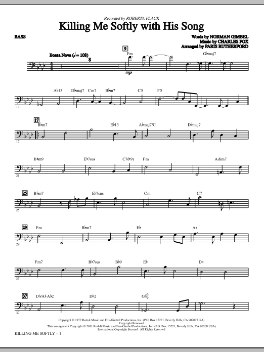 Killing Me Softly With His Song - Bass Sheet Music