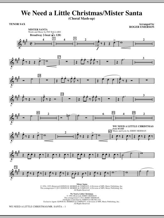 We Need a Little Christmas / Mister Santa - Tenor Sax (Choir Instrumental Pak)