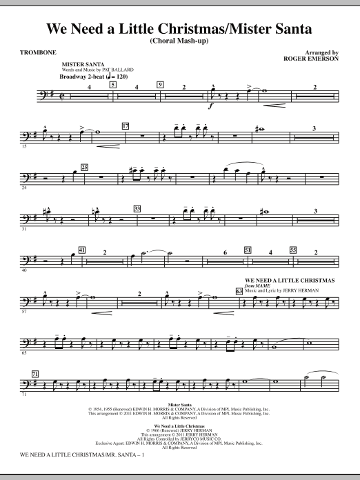 We Need a Little Christmas / Mister Santa - Trombone (Choir Instrumental Pak)