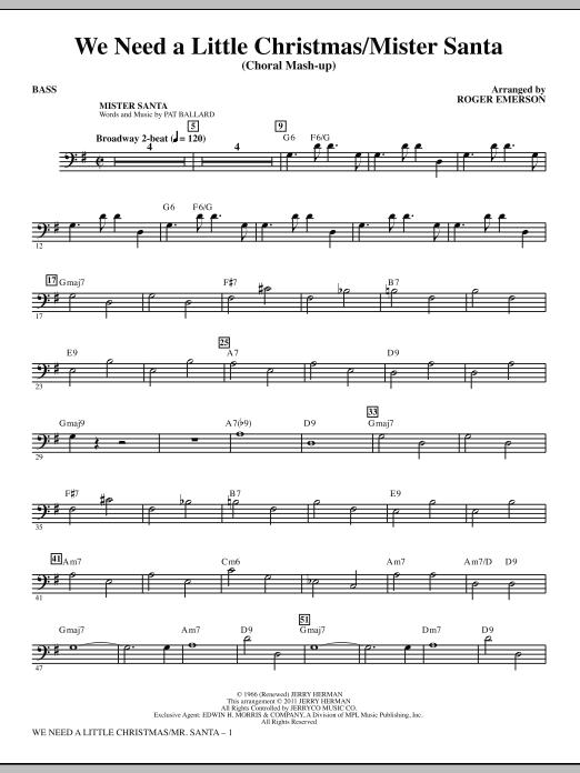 We Need a Little Christmas / Mister Santa - Bass (Choir Instrumental Pak)